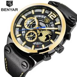 Relógio BENYAR (Todo Funcional) Preto/Dourado