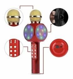 Título do anúncio: Microfone c Caixa d Som Karaoke Leds efeitos especiais