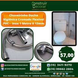 Chuveirinho Ducha Higiênica Cromado Flexível PVC   Inox 1 Metro X 13mm
