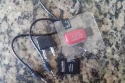 Cartão de memória 8 pendrive 8 cabo auxiliar