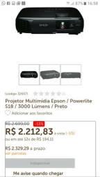 Projetor multimídia Epson/ Powerlite S18/ 3000 lumens Preto
