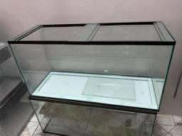 Aquário de 80x30x40cm. Novo, vidro, tampas e travas