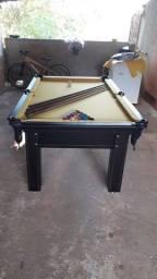 Mesa Tentação de Sinuca e Bilhar Cor Tabaco Tecido Amarelo Mod. CDYW1728