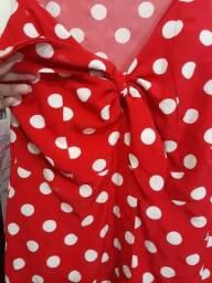 Vestido vermelho de bolinha branca da marca DWZ