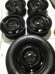 JOGO DE roda com estepe + pneu corsa celta uno PALIO etc