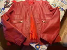 Jaqueta de couro legítimo vermelha