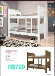 Título do anúncio: Cama de beliche para quarto infantil na cor branca e marrom