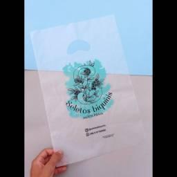 sacola plástica boca de palhaço transparente personalizada para roupas em São Luís