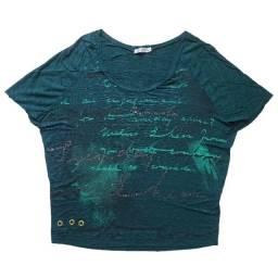 Título do anúncio: Blusa Chifon Feminina Original Verde Caligrafia Tamanho P