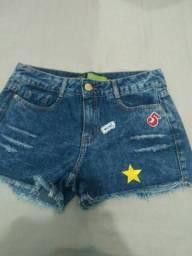 Short jeans e sai e 2 calças