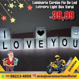 Luminária Cordão Fio De Led Letreiro Light Box Varal (A)