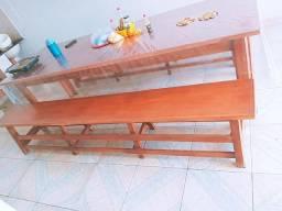 Mesa de madeira 3 metros com 2 bancos
