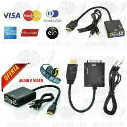 Cabo Conversor HDMI x VGA Audio Video HD