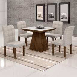 Mesa de Jantar com Tampo de vidro e 4 Cadeiras Luna- Faça seu Pedido *