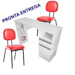 Kit Manicure unha de Gel 1 Mesa + 2 Cadeiras