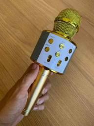 Microfone Karaokê Bluetooth Portátil Com Controle Mixer ?