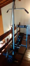 Gladiador e pesos (50 kg) todos os itens das fotos