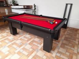 Mesa de Bilhar Charme Preta Tx Tecido Vermelho Modelo WEF0215