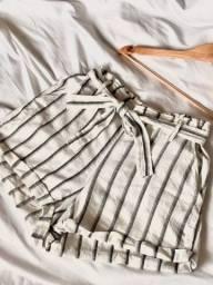 Shorts de linho cintura alta Zara