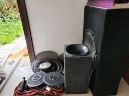 Título do anúncio: Alto-falantes Pooneer TS-A6983, Corneta com Box, Sub Woofer Pioneer com Box, cabos