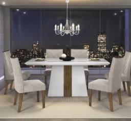 Mesa de Jantar Itália 6 Cadeiras com tampo de madeira chanfrado com vidro - Entrega Grátis