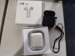Fone de ouvido i10 Tws (idêntico aos airpods da apple)+case de proteção emborrachada