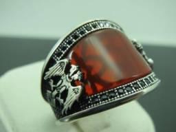Anel de Prata s925 Pedra Ágata Natural, feito a mão tamanho 22