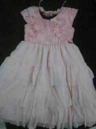 Vestido bordado rosa infantil