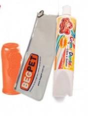 Kit vermelho - Escova de dente de dedo para dog+creme dental+necessaire