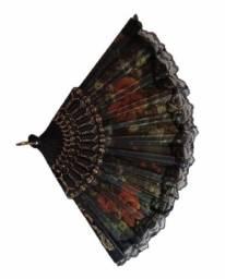 Título do anúncio: Leque de mão estampa floral com renda feminino cigano