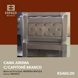 Título do anúncio: Cama Solteiro em Madeira Maciça com Capitonê Branco #Entrega e Montagem Grátis
