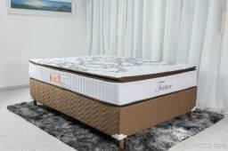 Título do anúncio: Base Box Casal + Colchão Casal Texture Pillow Top D33 138×188 Molas Ensacadas Paropas
