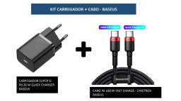 Título do anúncio: Kit Carregador USB-C Pd 20w + Cabo USB-C nas duas pontas Pd 100w 2 metros ? Baseus