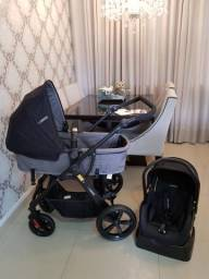 Kit 3 em 1 Kiddo Galaxy, carrinho, moises, bebe conforto e base