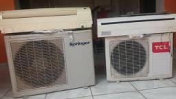 Ar condicionado conservado das marcas Springer e TCL