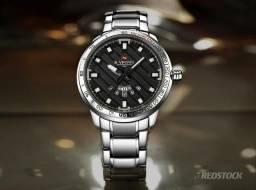 710f56c1d86b2 Relógio Naviforce® 9090 Masculino Aço Inox - Prata   3x Sem Juros e Frete  Grátis