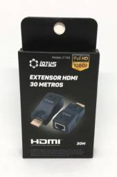 Extensor Conversor HDMI 4k e Rede Rj45 30 Metros Projetor Tv Notebook PC Novo na Caixa