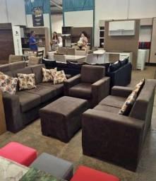 Conjunto com sofá dois e três lugares poltrona e puff direto da fábrica