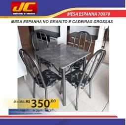 Mesa espanha no granito quadrado de 4 cadeiras