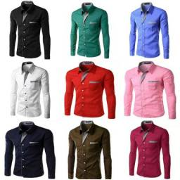 Camisa social masculina slim fit promoção