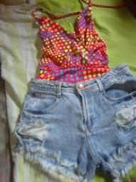 Short jeans e bory maiô