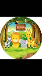 Painel sublimado tema safari baby menina