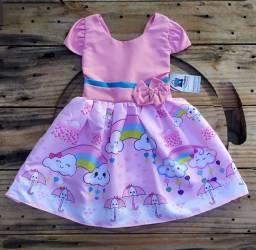 Vestido infantil temático Chuva de Bençãos
