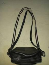 bolsa bag unisex de couro preta