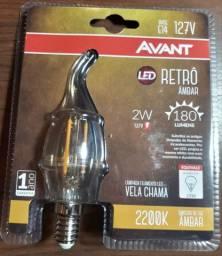 Kit com 6 lâmpadas vela chama LED 127v