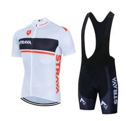 Conjunto Ciclismo Camisa + Bretelle Strava Branco