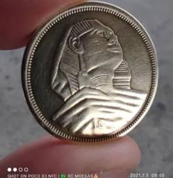 Moeda Egito 10 Milliemes Efígie Faraó