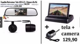 Espelho retrovisor com tela lcd 4,3 + câmera de ré universal
