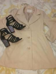Casaco,melissa,sandália preta, vestido floral