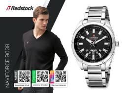 33550a169a56a Relógio Naviforce® 9038 Masculino Aço Inox - Prata   3x Sem Juros e Frete  Grátis
